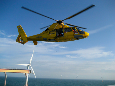 N3 hoist at windmill farm in the North Sea